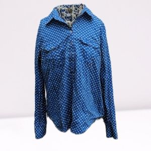 New York & company blue polka dotted blouse